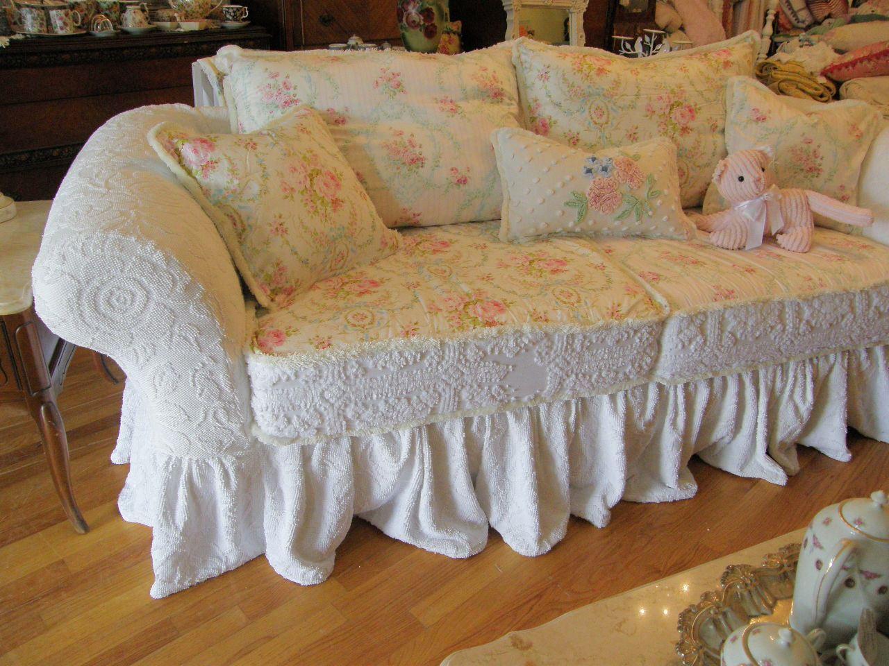 Unique Shabby Chic Sofa And Custom Shabby Sofa Chic Chenille