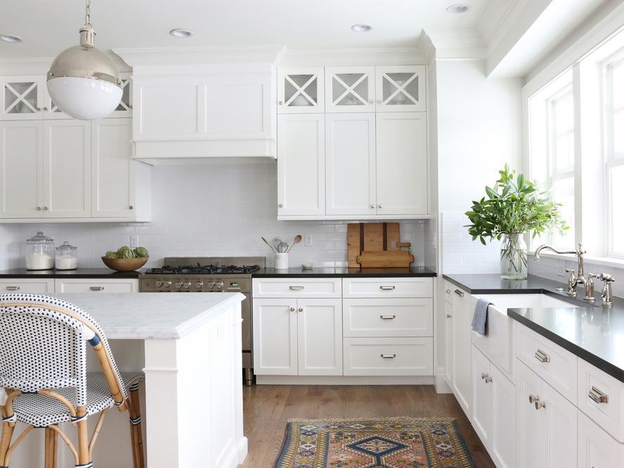 Studio Mcgee Classic White Kitchen With White Subway Tile Marble