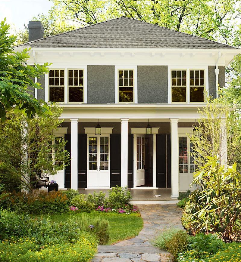 Donald Lococo U2013 Puritan Gray Stucco U2013 Simply White Trim Best Benjamin Moore  Exterior House Colors