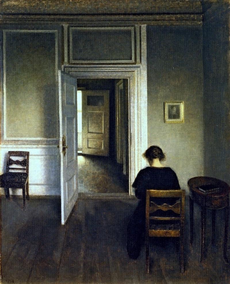 Interior-Strandgade-30-Vilhelm-Hammershoi-oil-painting