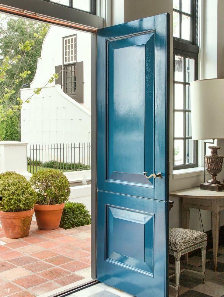 beautiful brass handle McAlpine- door knobs-blue-exterior-door