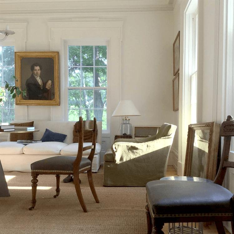 Gerald Bland decor not - Greek Revival living room - white walls