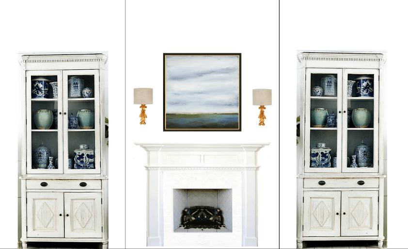 big living room wall Gustavian cabinets