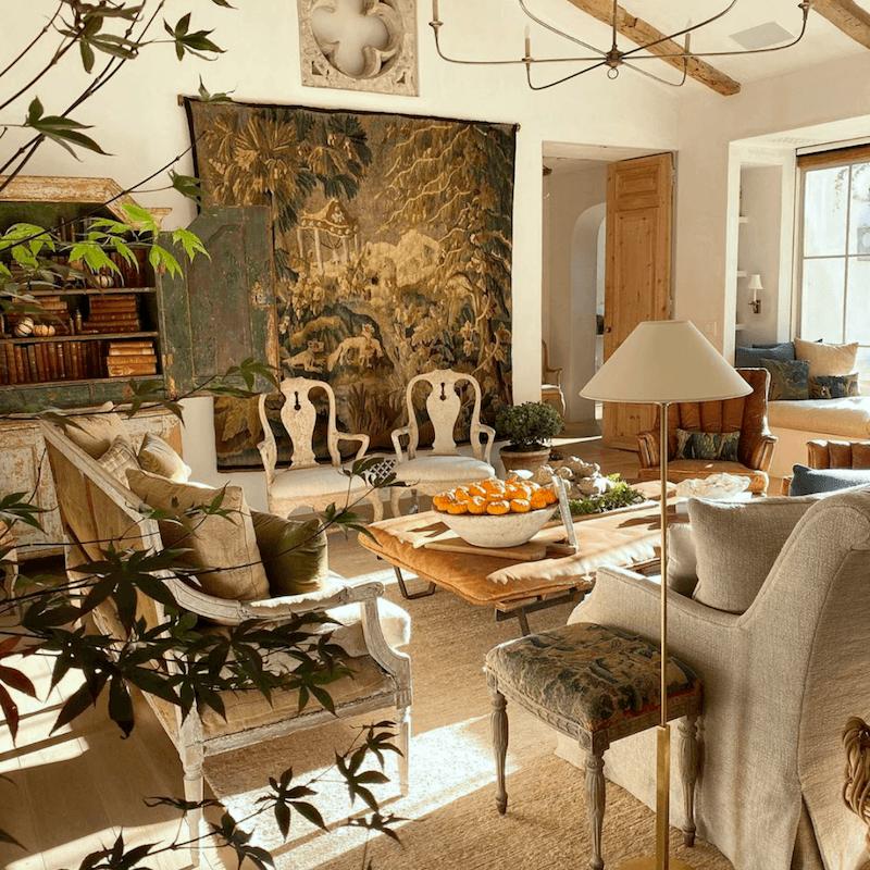 Via @giannettihome on instagram - @velvetandlinen - interior design trends for 2020beautiful landscape tapestry