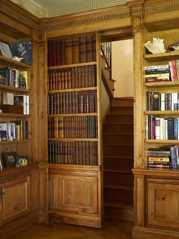 Hidden staircase behind secret door library - original source unknown