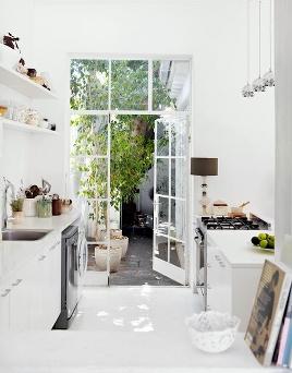 tiny kitchen - white - kitchen - French Doors
