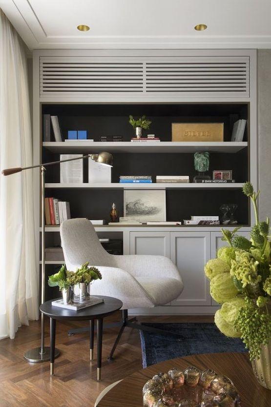 mini split air conditioner hidden in bookcase - stop indoor air pollution