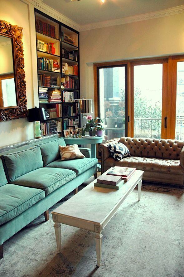 mismatched sofas teal velvet - leather