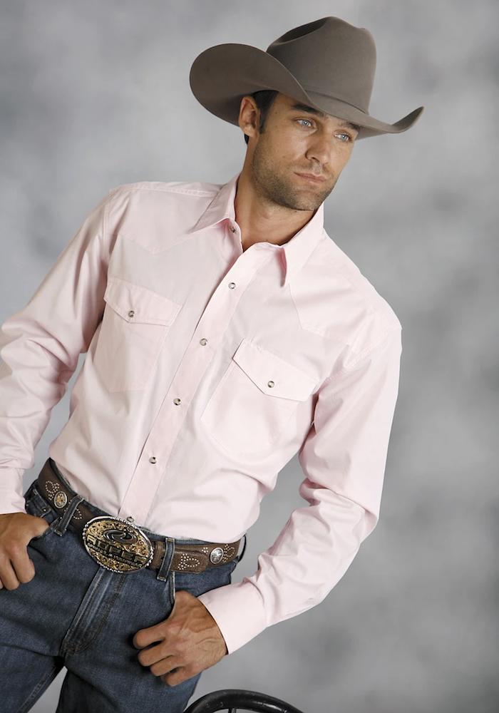 Roper Mens Pink 100% Cotton L:S Snap 1 Pt Back Yoke Poplin Western Shirt the Western Company - the color pink