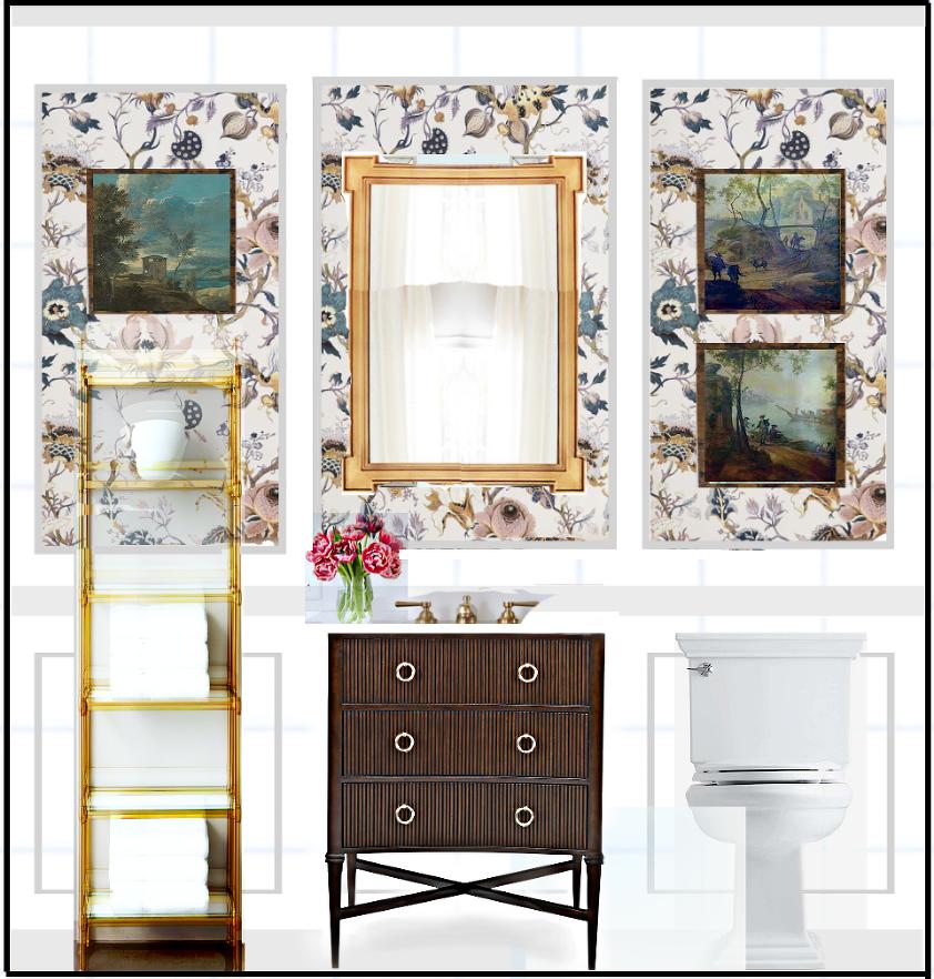 House of Hackney wallpaper - Artemis-white floral lavender teal vanity - guest bathroom
