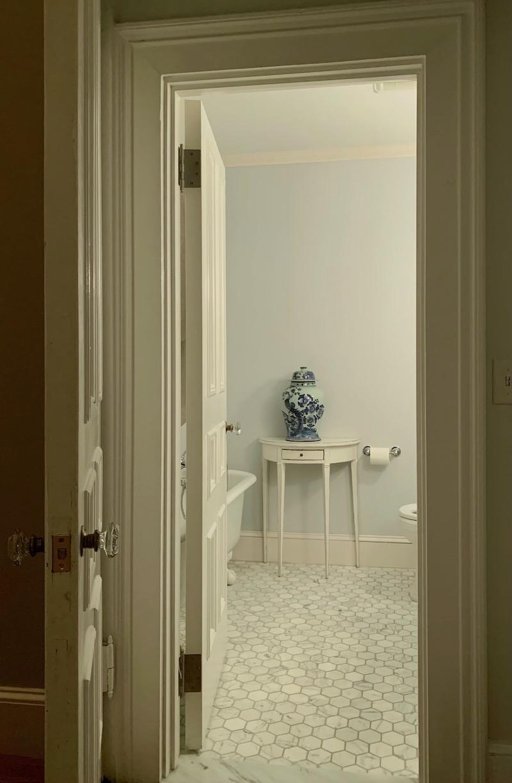 my guest bathroom painted Benjamin Moore Marilyn